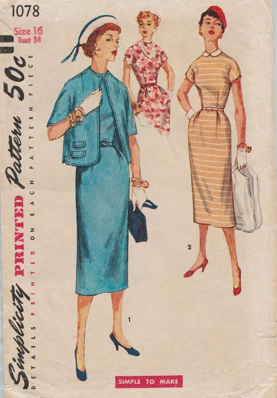 Simplicity 1078 / Vintage 50s Sewing Pattern / Dress And | Vintage ...