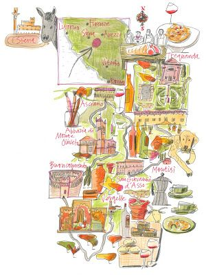 Giulia Binfield - Food map illustration of  Val D'Orcia area of Tuscany for La Repubblica