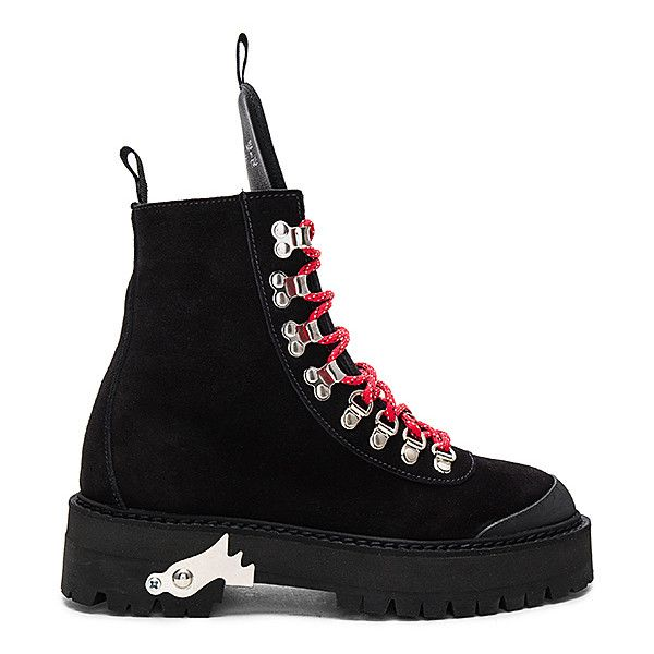 OFF-WHITE Hiking Mountain Boots (3.240 BRL) ❤ liked on Polyvore featuring shoes, boots, ankle boot, mid heel ankle boots, lace up ankle boots, mid-heel boots, ankle rubber boots and laced up ankle boots