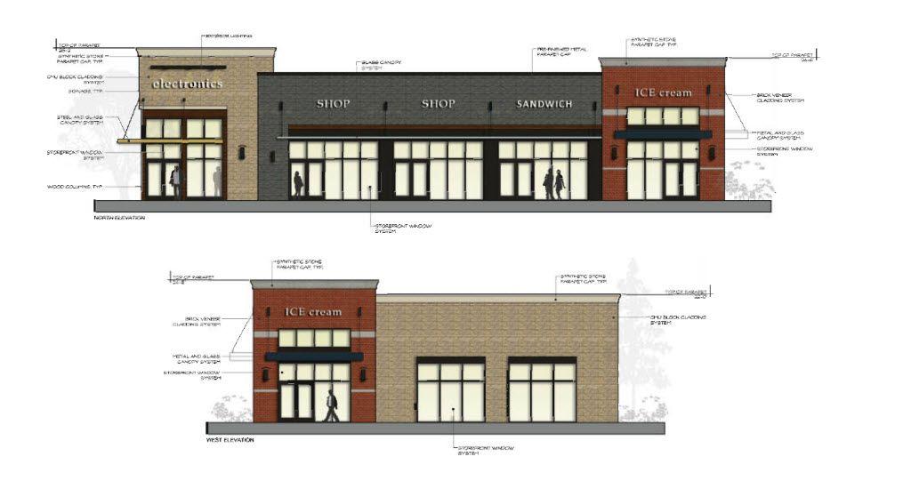 Retail buildings building c 6 000 sf retail strip for Retail building plans