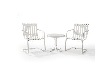 Gracie 3 Piece Metal Outdoor Conversation Seating Set 2 Chairs And Side Table Alabaster White Crosley Patio Furniture Sets Outdoor Seating Set Outdoor Chairs