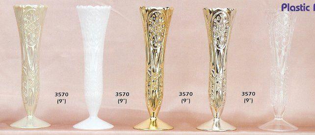 9 Inch Plastic Crystal Design Vase Clear Vintage Rustic