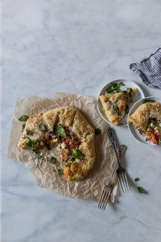 Heirloom Tomato & Chevre Galette with Lemon Balm Almond Pesto #recipe #food