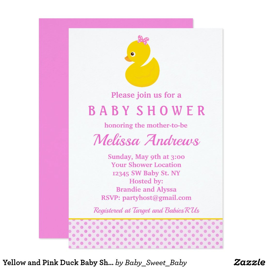 Yellow and Pink Duck Baby Shower Invitation Our custom baby shower ...