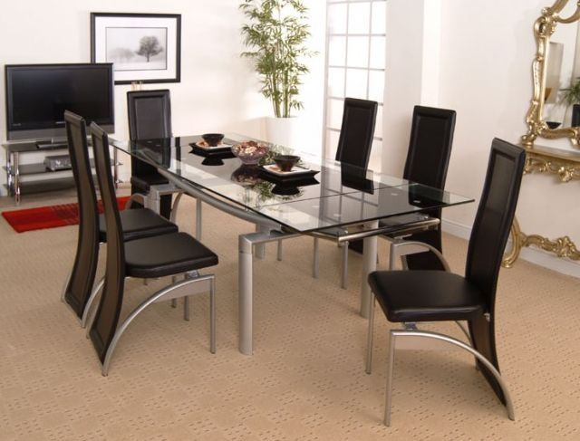 Chicago Glass Extending Dining Set with 6 Hilton Black Plain Chairs