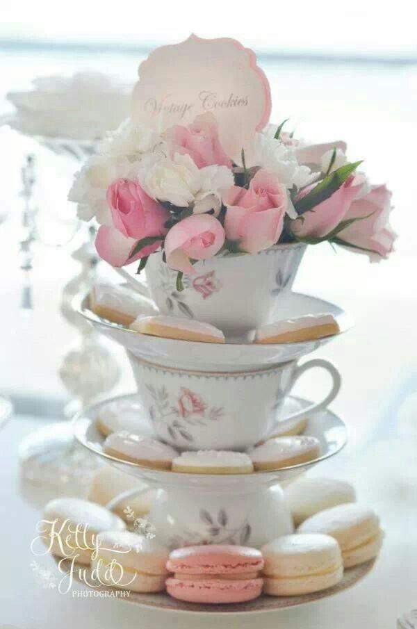 bridal shower teparty decorations%0A Love the idea of incorporating teacups  Pretty Pink Vintage Wedding via  Kara u    s Party Ideas