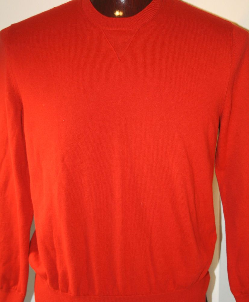 Banana Republic Mens Crewneck Sweater Large Cotton Cashmere Red Pullover