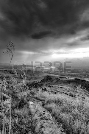 Countryside road between dry straw in a spectacular summer sunset - Black and white