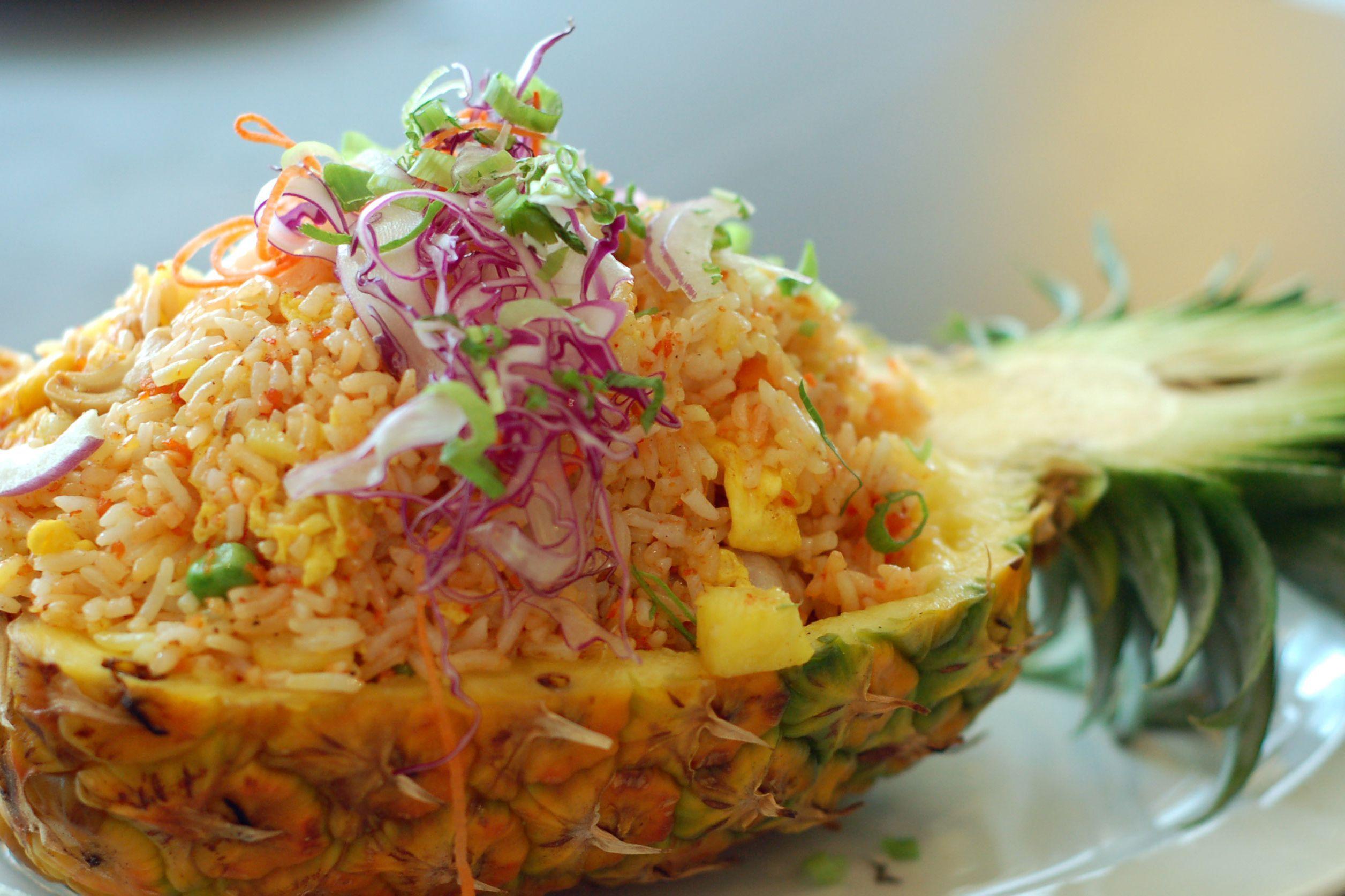 Thai vegetarian pineapple fried rice recipe thai pineapple fried food this classic thai pineapple fried rice recipe is real vegetarian forumfinder Choice Image