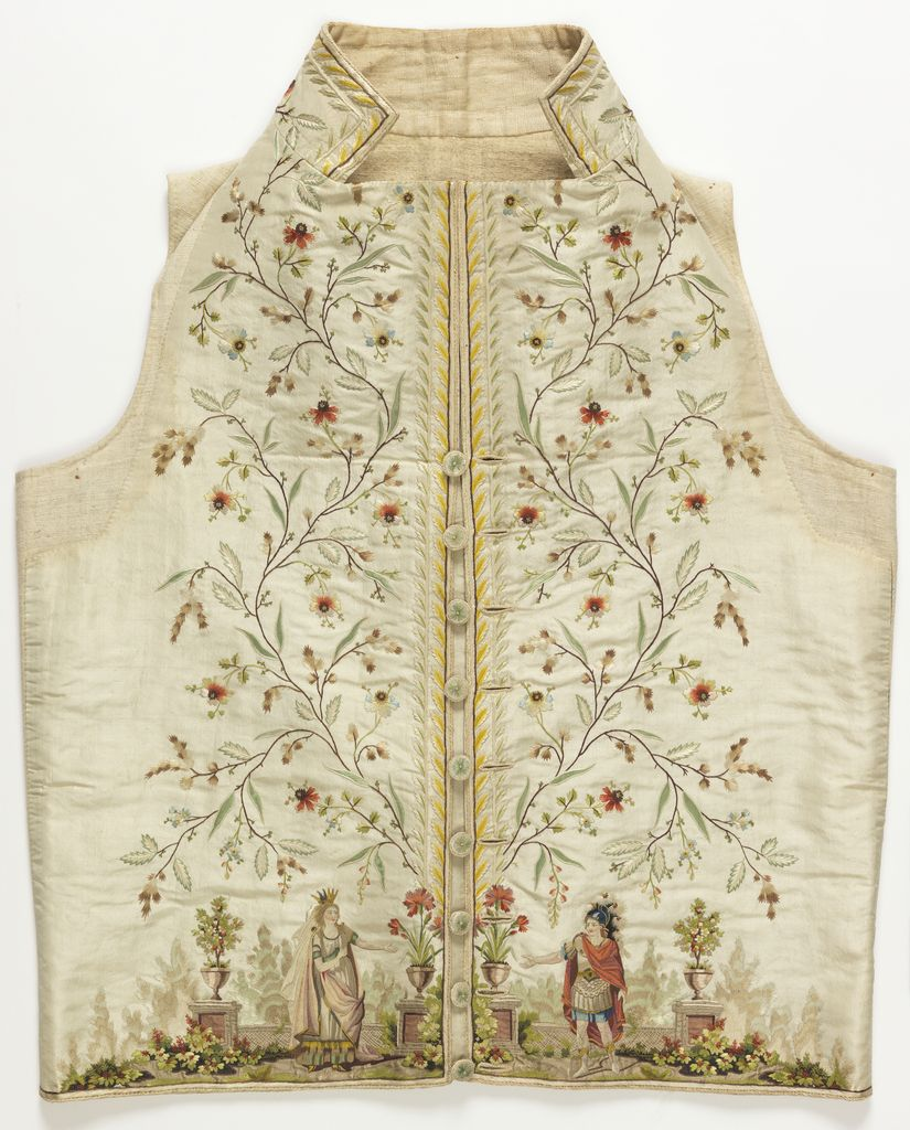 WAISTCOAT (FRANCE), 1785–95 | This is a Waistcoat. It was after Jean-Michel Moreau le Jeune. It is dated 1785–95 and we acquired it in 1962. Its medium is silk and metallic embroidery on silk foundation and its technique is embroidered in silk in knot, stem, and satin stitches; metallic yarn in satin stitch; couched silk cord; appliqué of three plain weave silk fabrics; on plain weave foundation.