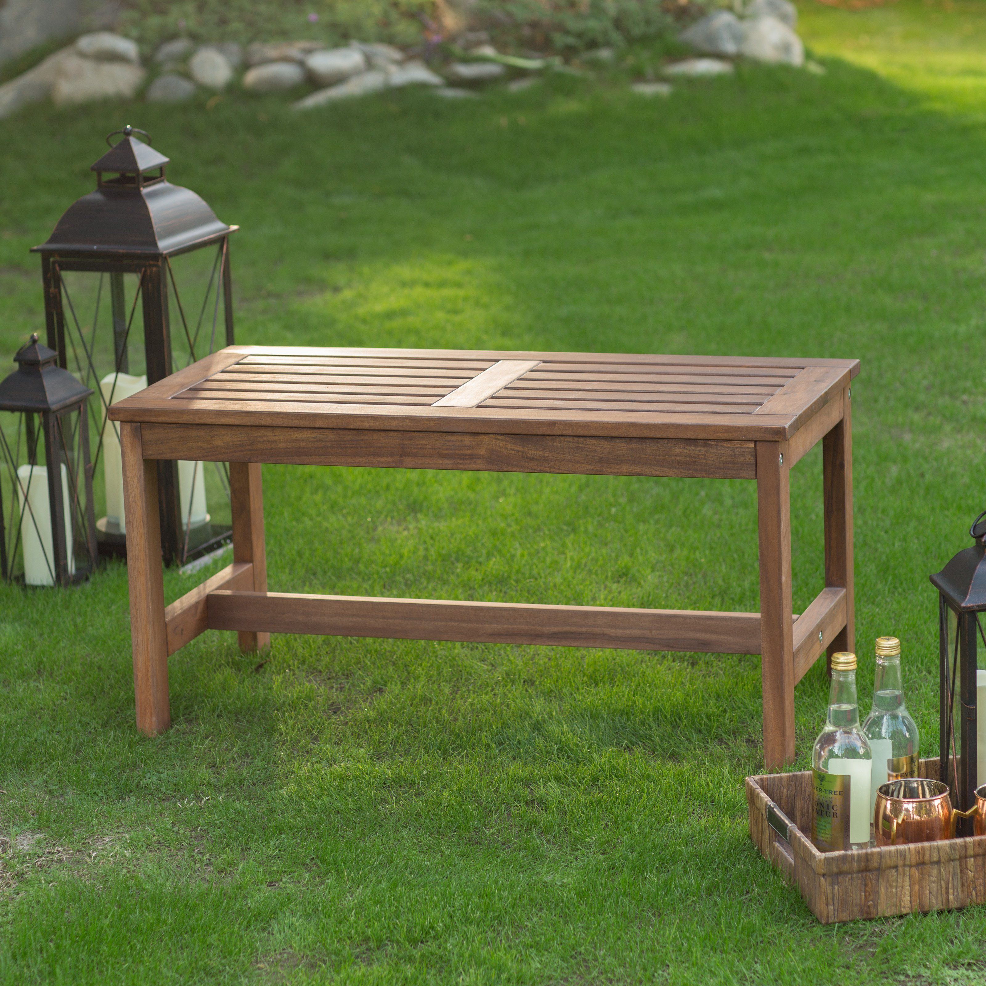 Coral Coast 3 Ft Outdoor Wood Backless Bench Dark Brown Www Hayneedle Com Fire Pit Bench Outdoor Wood Outdoor Bench
