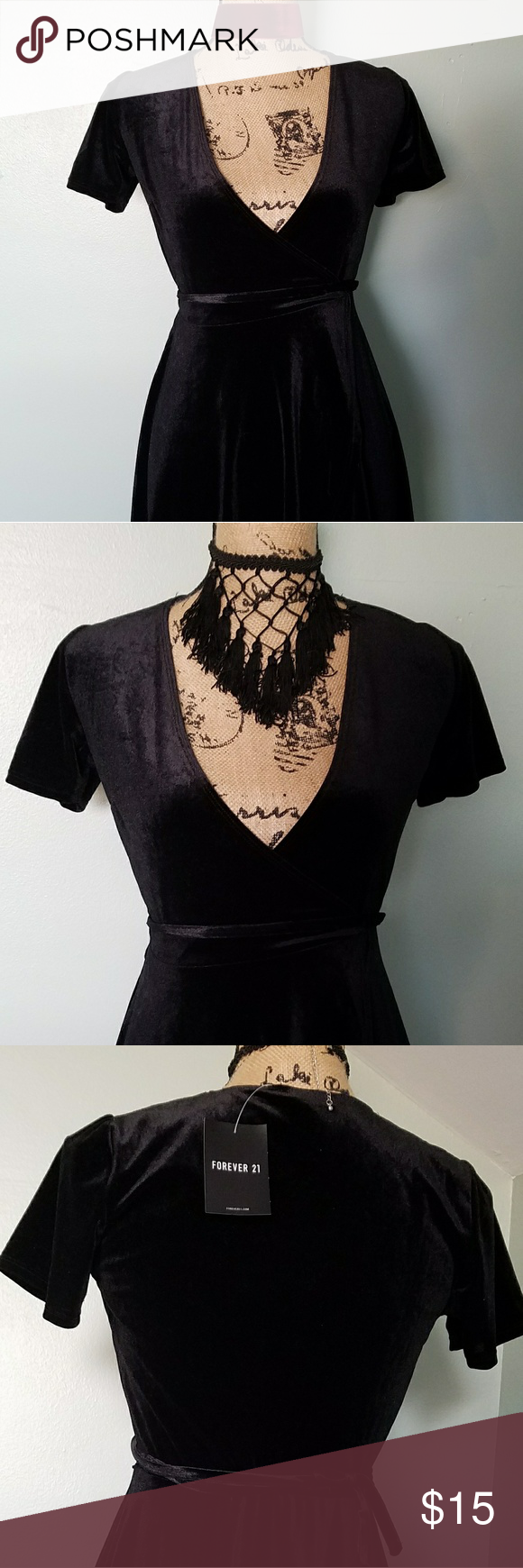 b76ef1612d Forever 21 Black Velvet Dress This is a wrap dress from Forever 21 in a  size small. NWT. Forever 21 Dresses Midi