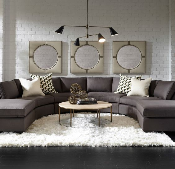 Living Room Inspiration For Big Families: These 20 Curved Sectional Couches Are Perfect For Big