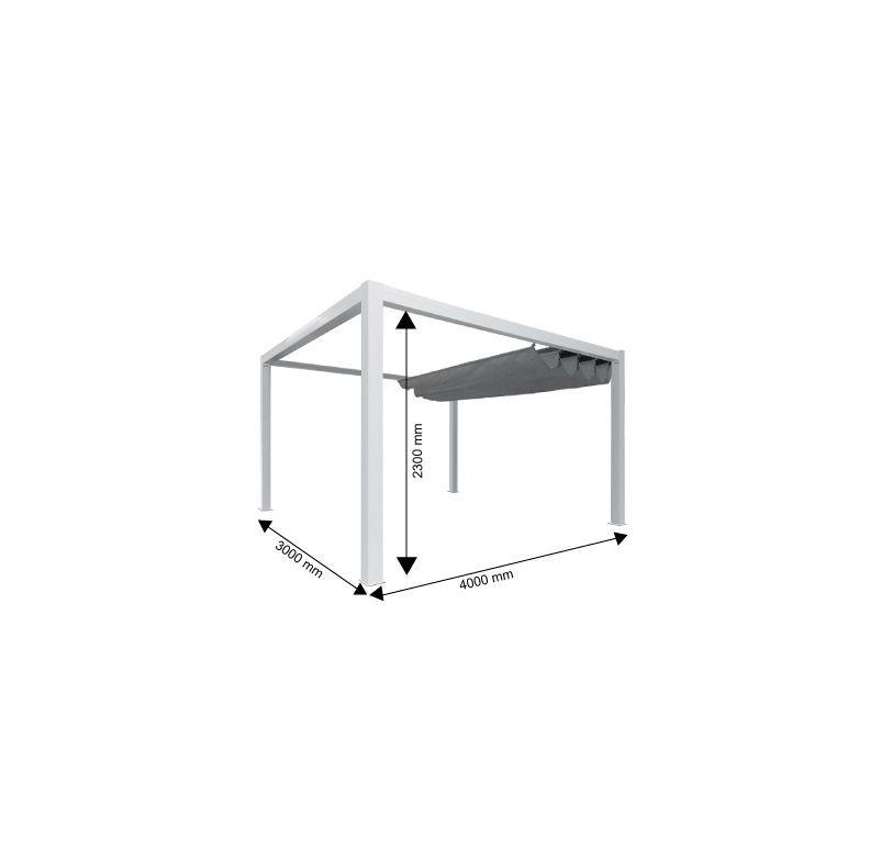 Pergola toile et aluminium Classique 4 x 3 m. Couleur structure : Gris – Couleur toile : Beige – PRIXIMBATTABLE