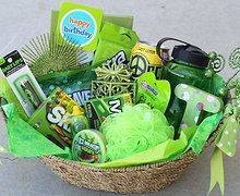 Pin By Hannah Lyon On Diy Crafts Themed Gift Baskets Colorful Gifts Green Gifts