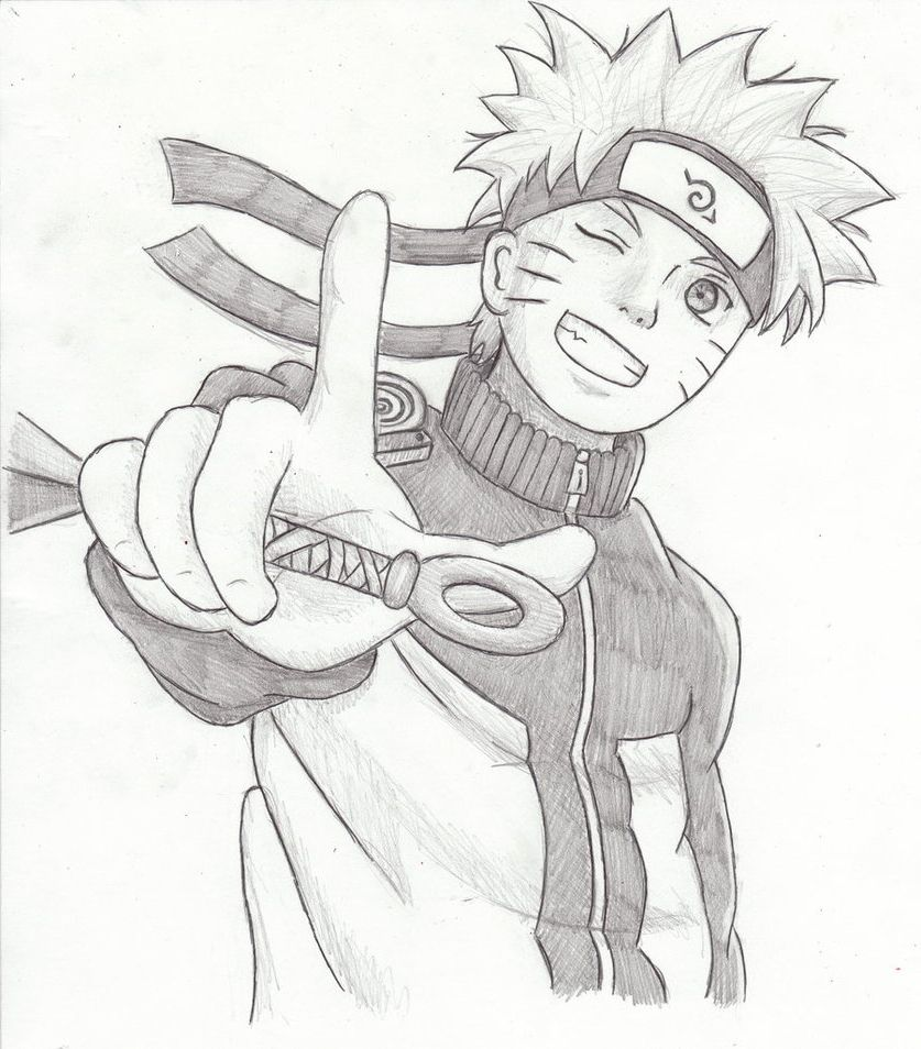 Pencil drawings sketching anime naruto under town