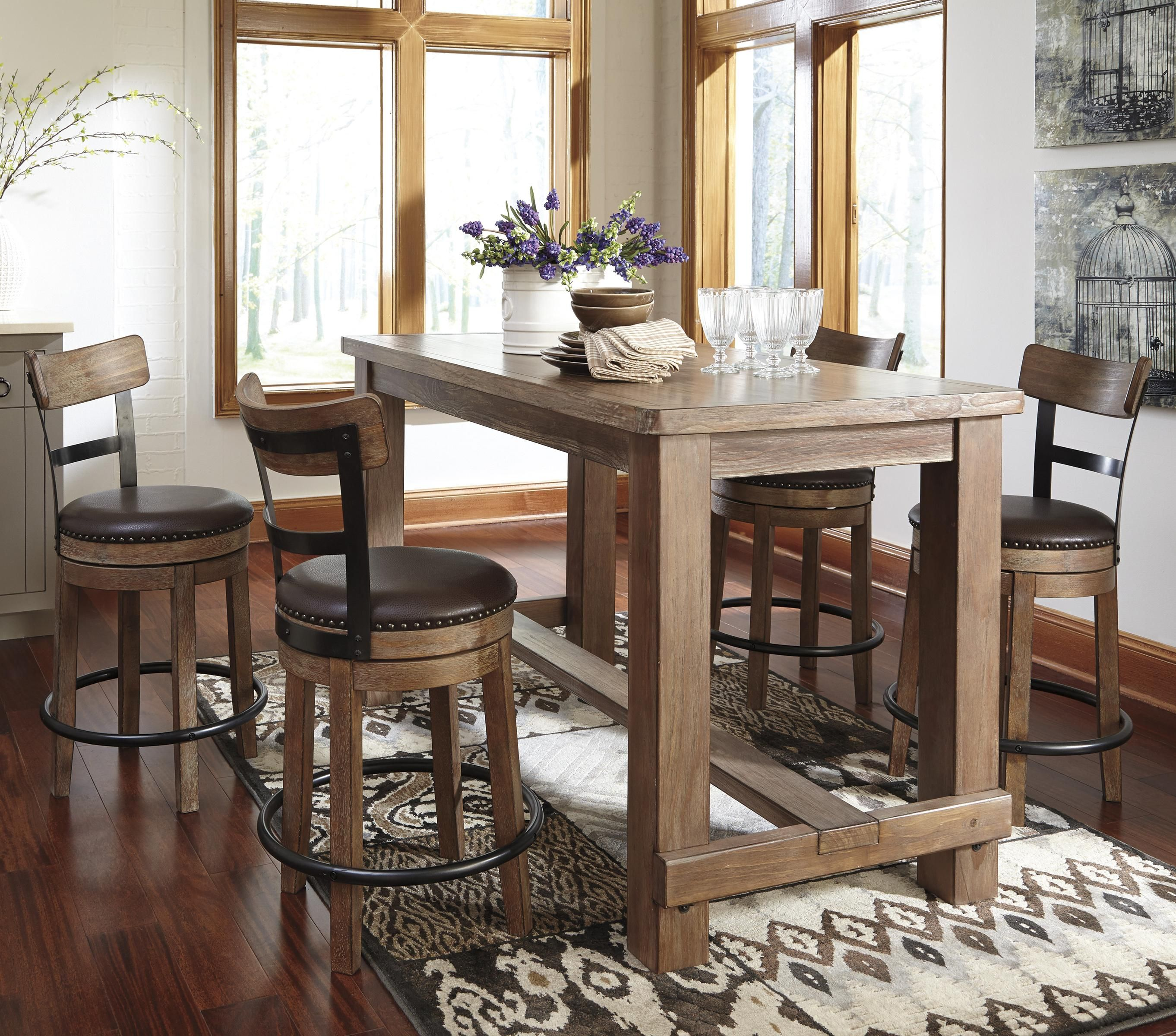 Pinnadel 5 Piece Counter Table Set By Signature Design By Ashley