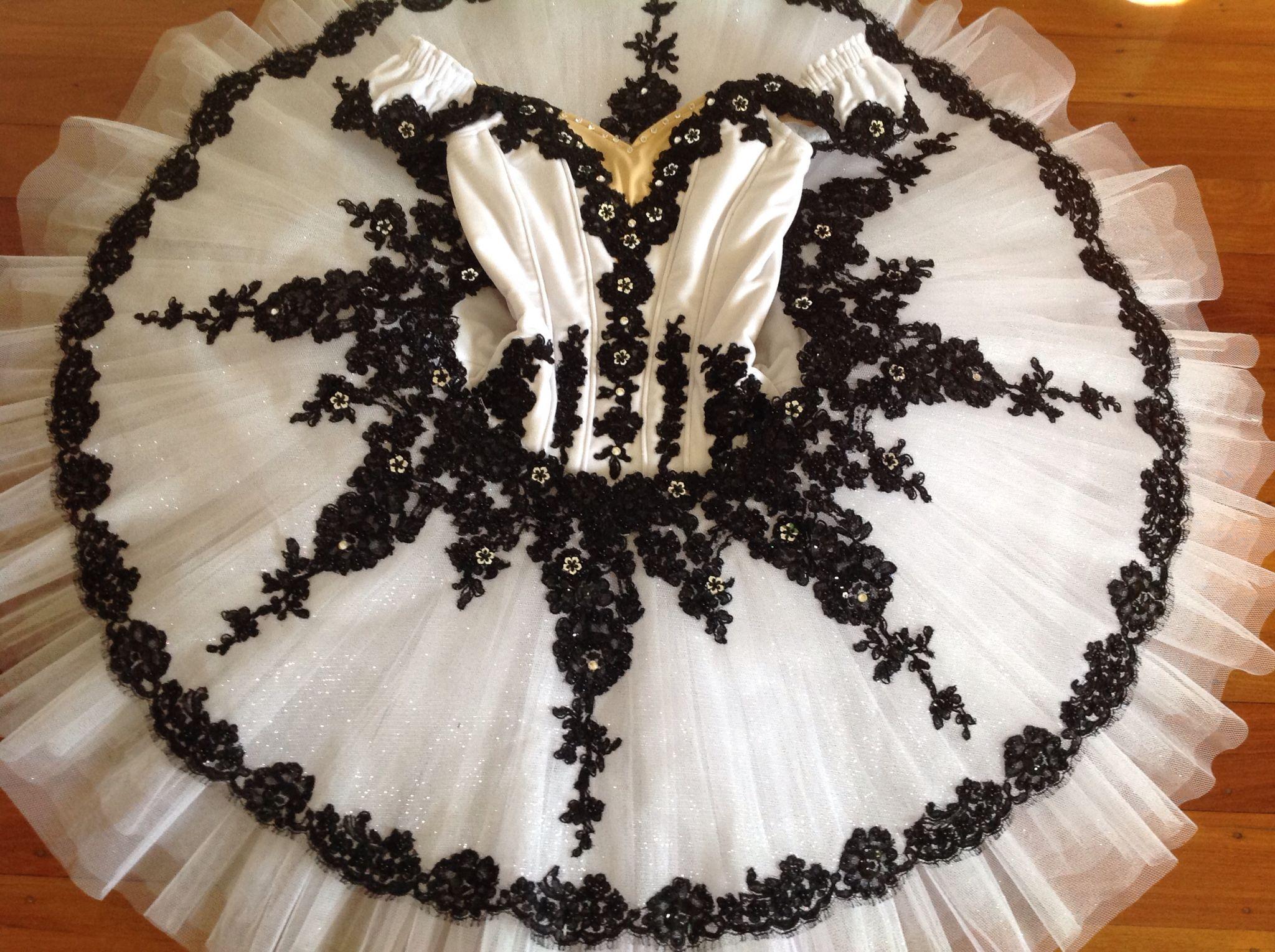 White stretch velvet and black lace tutu