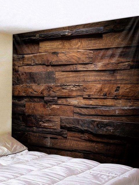 Tapisserie Murale Décorative à Imprimé Planches en Bois Style Rétro - multicolor W91 INCH * L71 INCH #woodenwalldecor