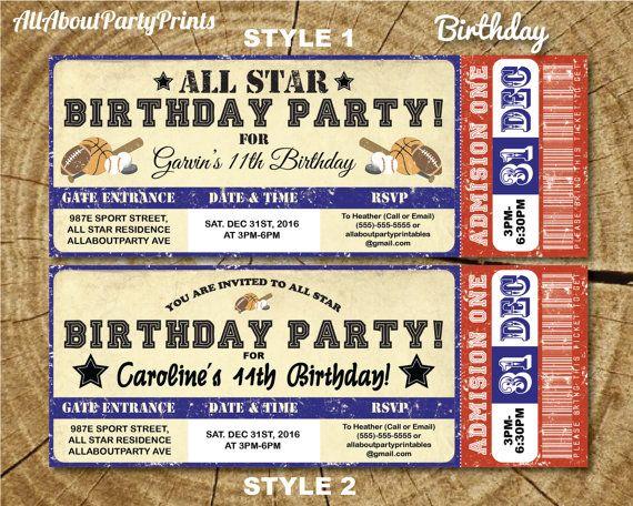 Sport Ticket Birthday- Baby Shower Invitation Printable-digital - ticket invitation template