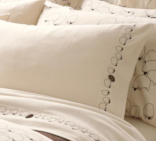 Cuddledown Flannel Sheep Sheets Pillow Cases Sheep