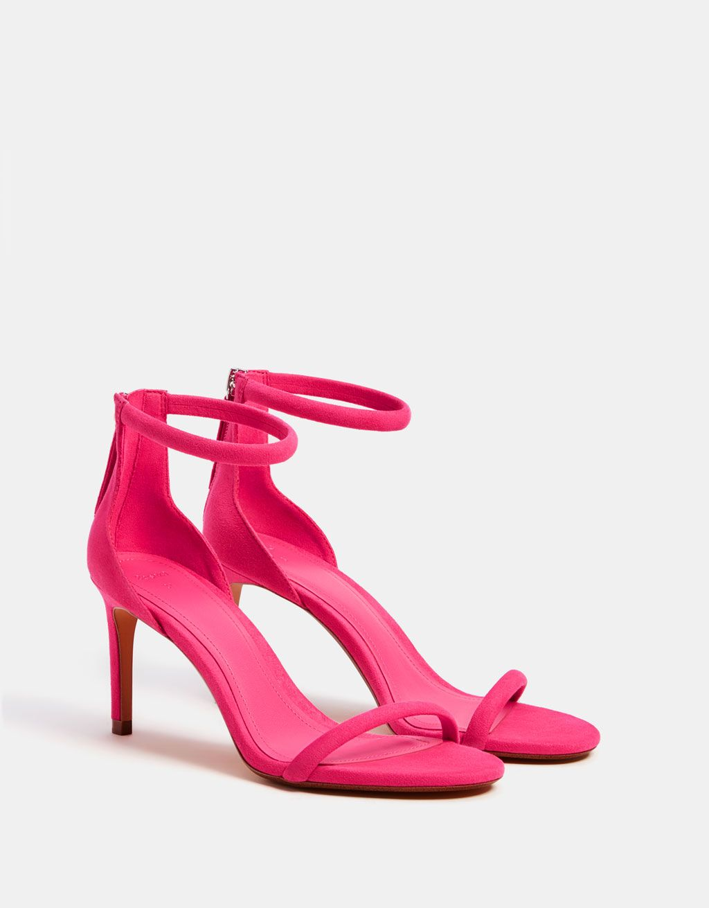 FUCHSIA BRIGHT PINK BARELY THERE STRAPPY SANDALS PEEP TOES HIGH HEELS SHOES SIZE