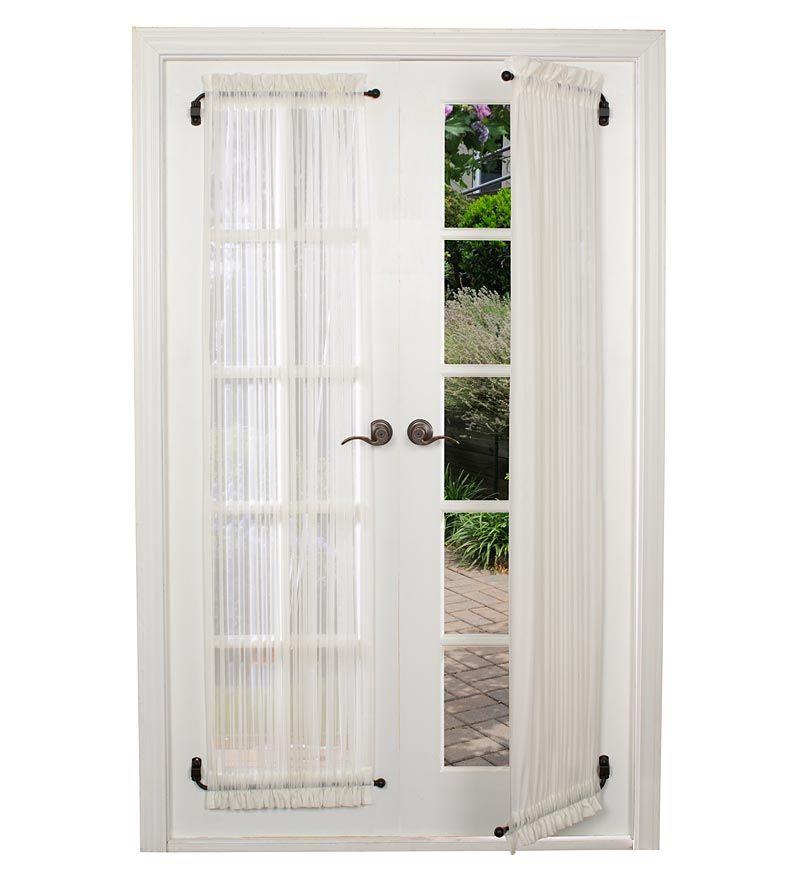 adjustable steel swing arm curtain rod set maybe curtains instead of shears window. Black Bedroom Furniture Sets. Home Design Ideas