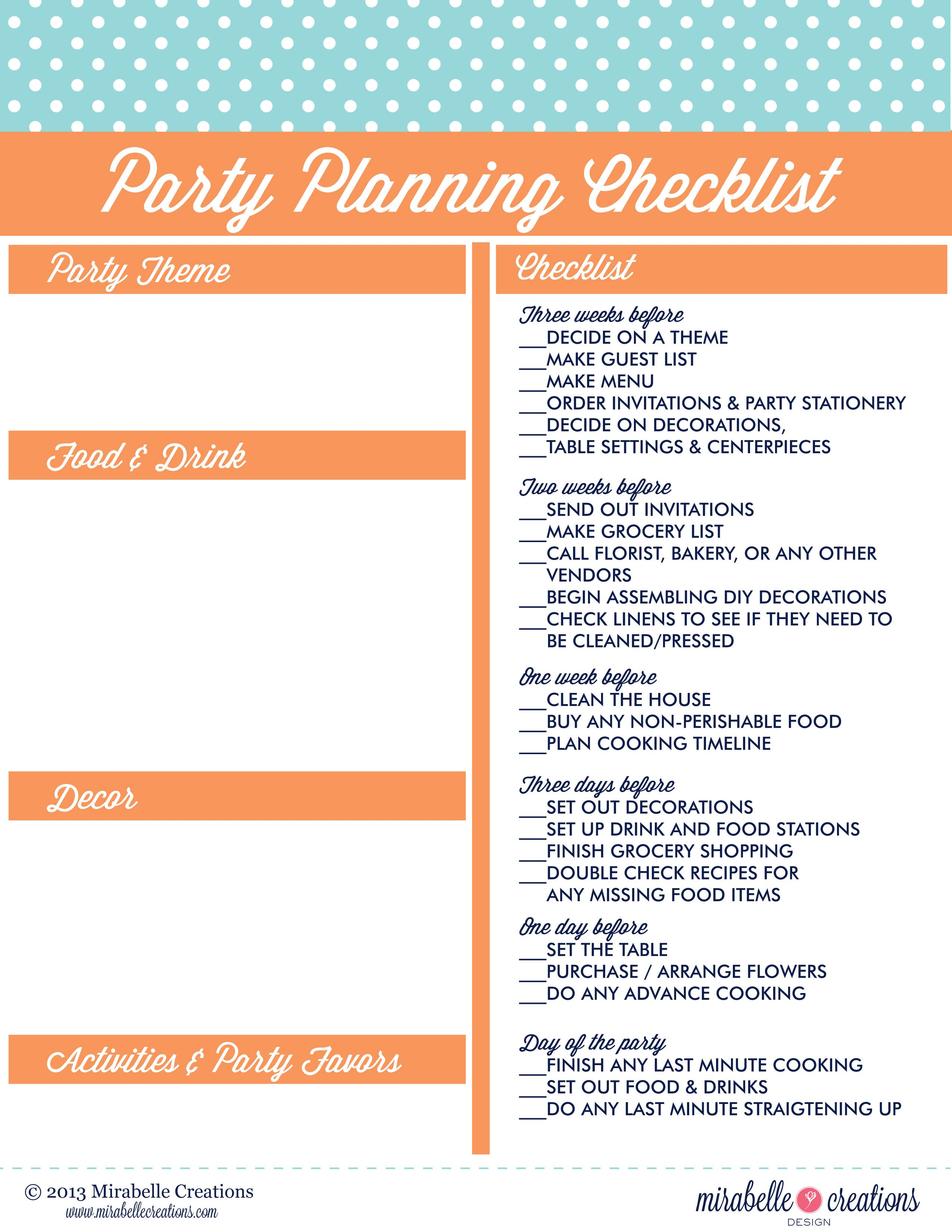 how to plan a birthday party checklist