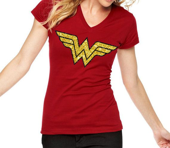 f80f238f561 ... Wonder Woman inspired Logo Glitter Shirt - Super hero shirt for women -  superwomen. Hey