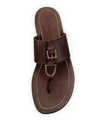 98ea5706388f6 Ralph Lauren Black Label Men s Horsebit Leather Thong Sandal
