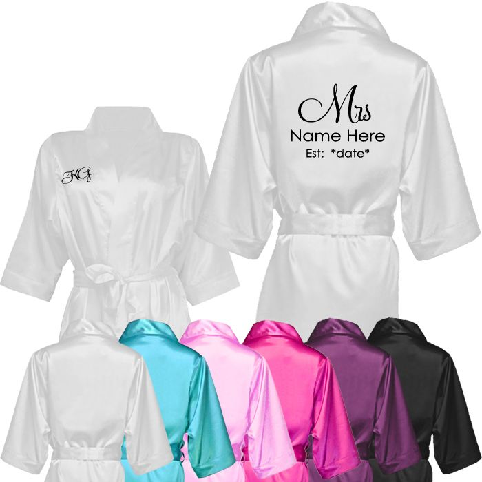Mrs *Name* Est. *Date* Custom Robe | Bride & Bridal Party Robes ...