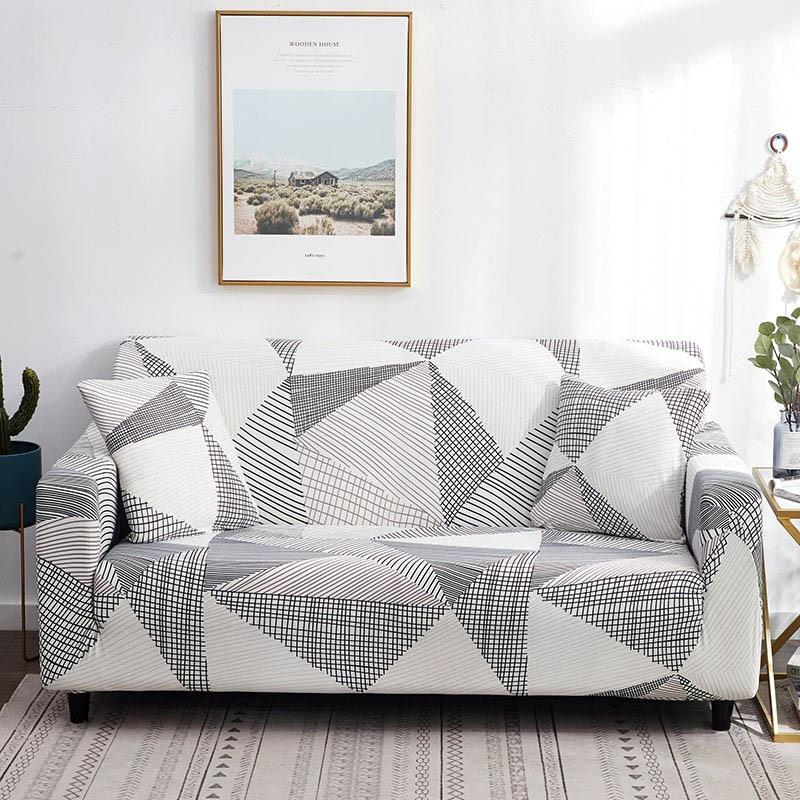 Gray White Abstract Triangle Pattern Sofa Couch Cover In 2020