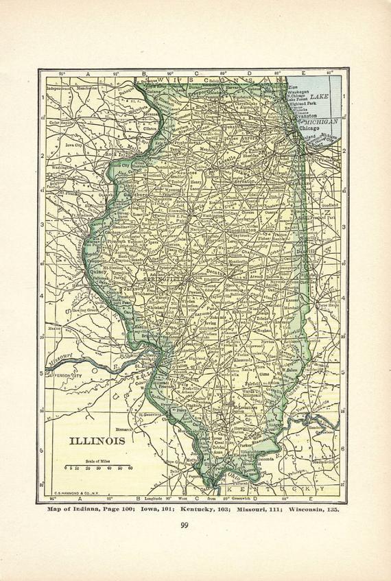 Indiana Map Print Wall Decor Illinois Map Atlas Art Illustration