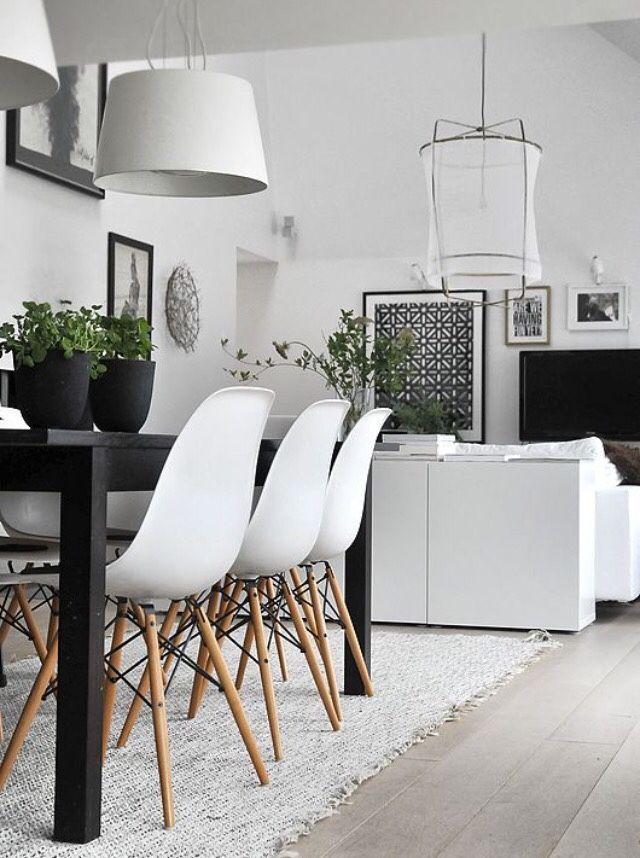 Farbgestaltung Wohnzimmer Schwarz Weis Sehr Schön Skandinavisches Interior  Design Modernes Wohn Esszimmer Mit Schwarzem Esstisch Holz Architektur  Modell ...