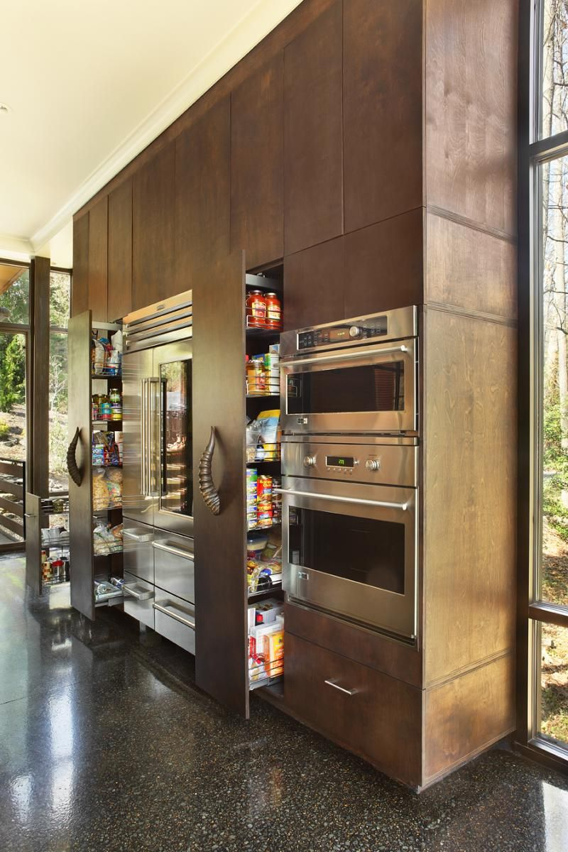 Modern Kitchen Full Wall Of Appliances And Cupboards I Like The
