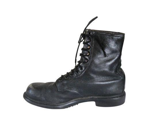 Vintage Black Combat Boot Men Grunge