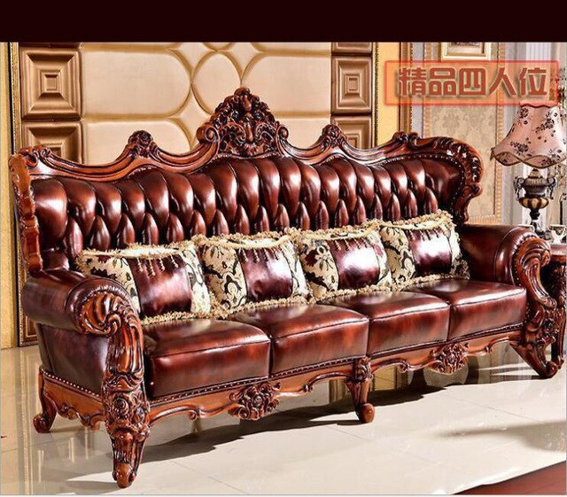 High Quality European Antique Living Room Sofa Furniture Genuine Leather Set 1068 1 In 2020 Antique Living Rooms Living Room Sofa Sofa Furniture