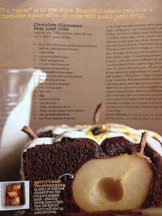 Chocolate Cinnamon Pear Loaf Cake Better Homes And Gardens