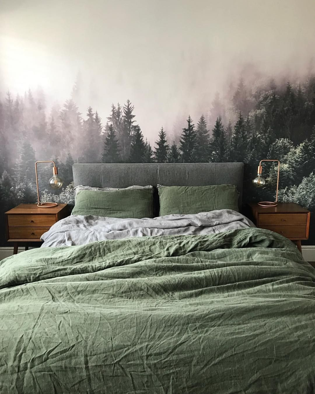 Forest Mural Wallpaper, Natural Grey And Olive Green