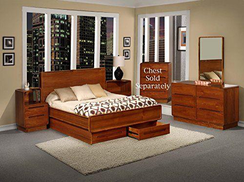 Scandinavian Metro Teak Wood Bedroom Furniture 5pc Set Queen