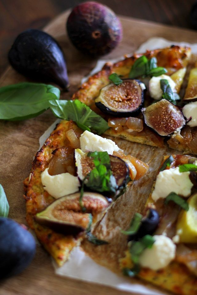 Caramelized Onion, Fig, Ricotta, and Basil Pizza on Cauliflower Pizza Crust   TheRoastedRoot.net #healthy #recipe #glutenfree #vegetarian