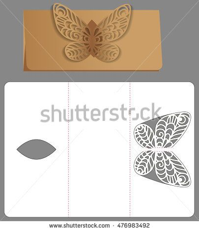 Paper template Invitation and greeting card with abstract butterfly - greeting card template