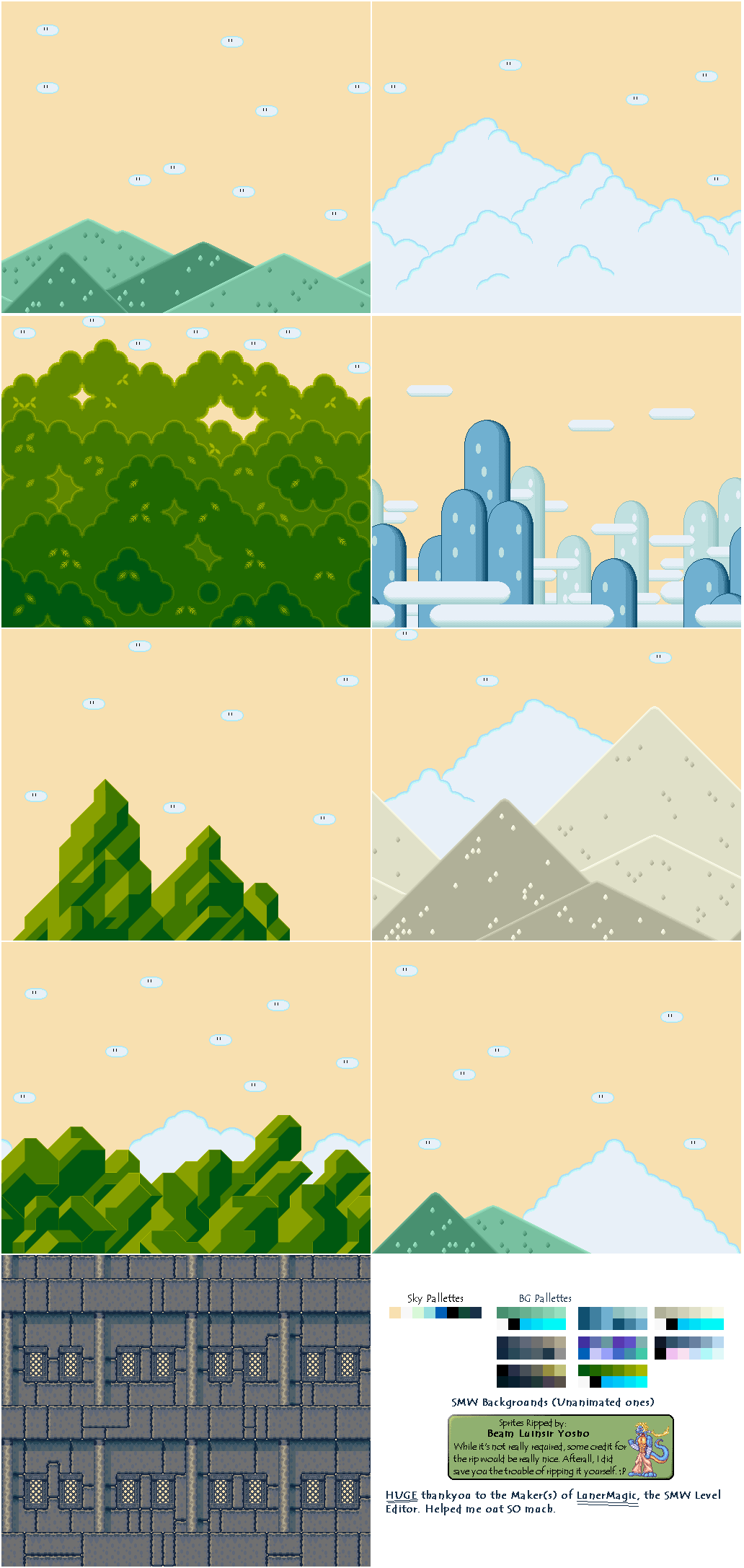 Super Mario World Backgrounds Sprites Pinterest