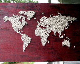 World map decal string art wood with wool by beaugrandmonde string world map decal string art wood with wool by beaugrandmonde gumiabroncs Choice Image