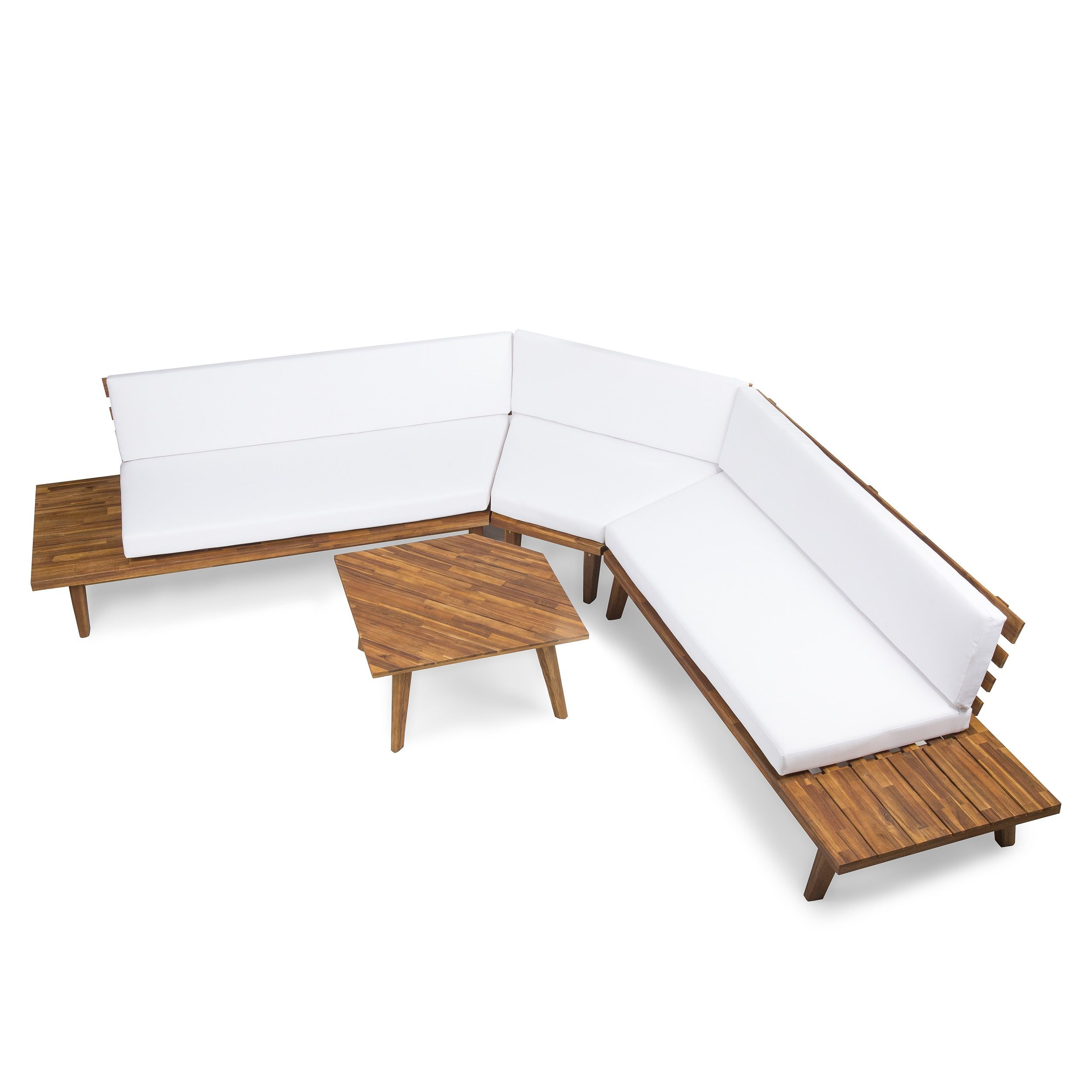 Hillcrest Outdoor 4 Piece V Shaped Wood Sectional Sofa Set With