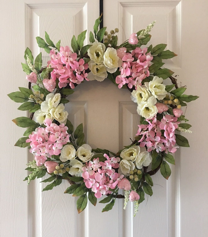Spring Flower Berry Wreathspring Berry Wreath For Front Doorpink