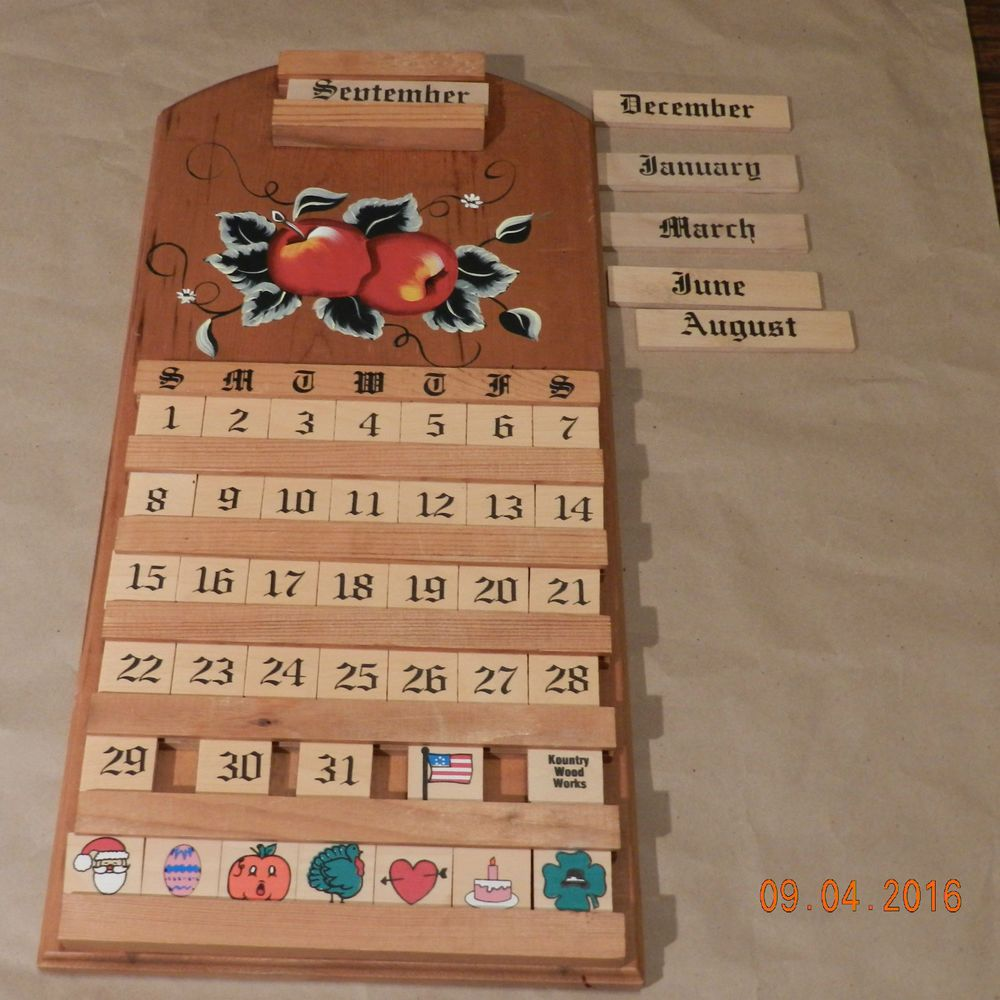 Vintage Kountry Wood Works Perpetual Wooden Wall Calendar With