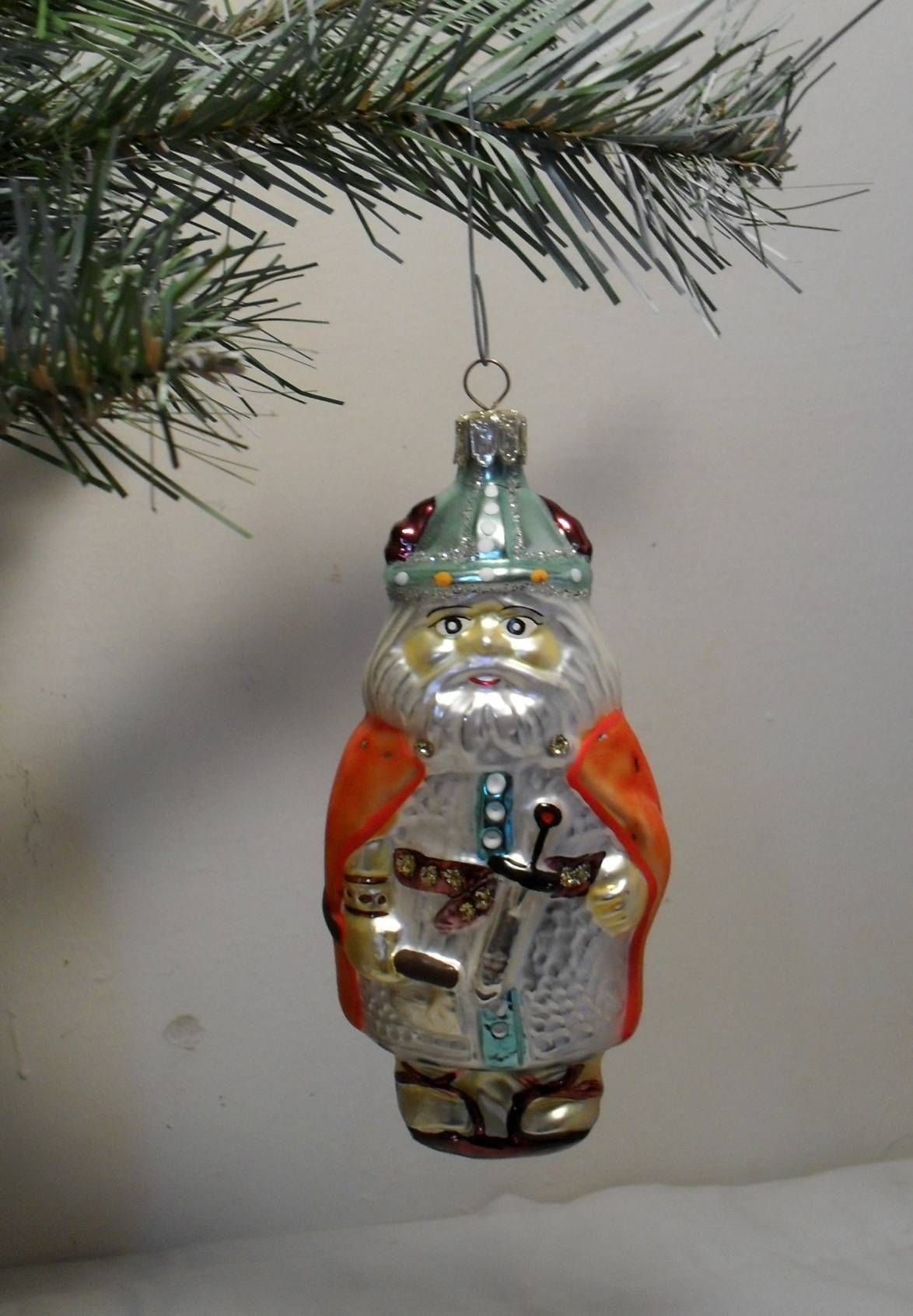 Wonderful Christmas Viking Blown Mercury Glass Ornament Hand Painted Made In Poland Vintage Vi Mercury Glass Ornaments Holiday Decor Christmas Glass Ornaments