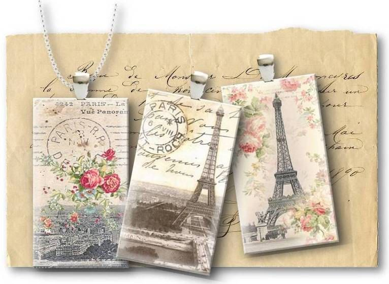 Paris Eiffel Tower 1x2 inch Domino Tile for pendants & magnets Digital Collage Sheet Set 426. $4.00, via Etsy.