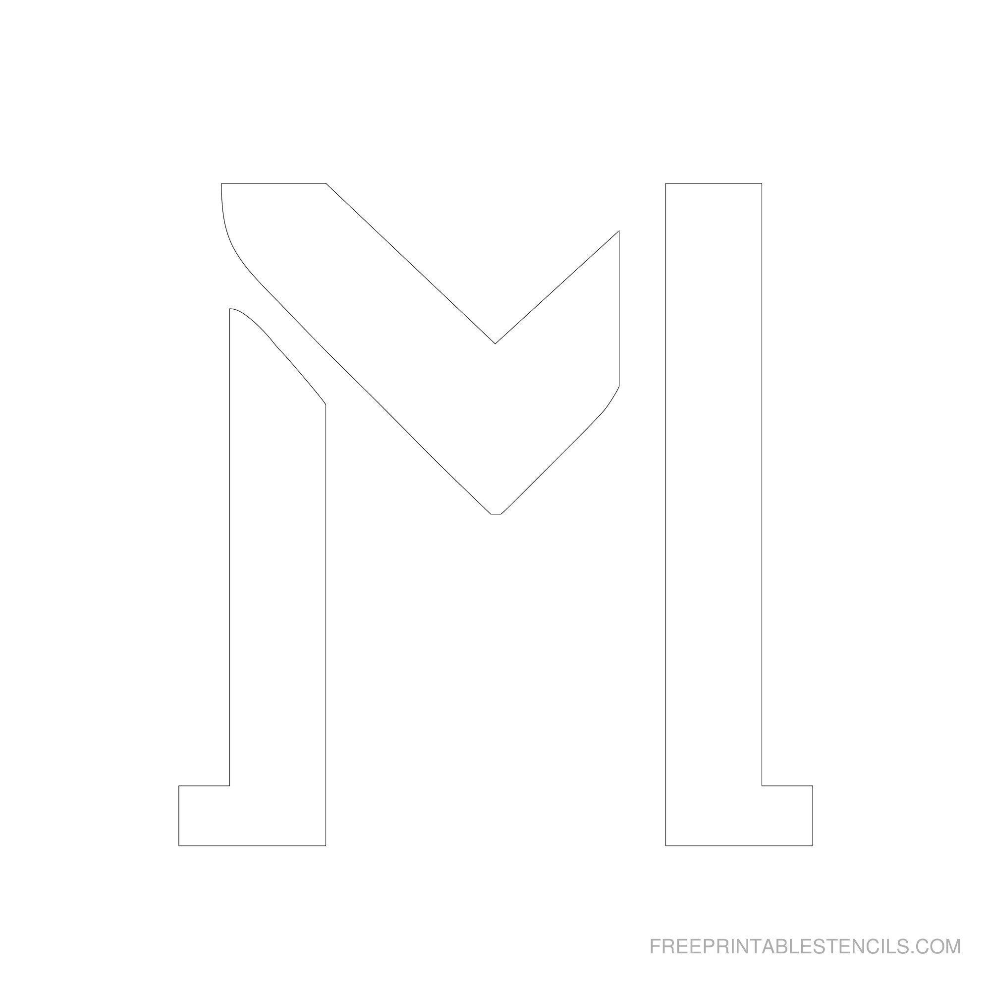 Free Printable Stencils Printable  Inch Letter Stencil M  Aj